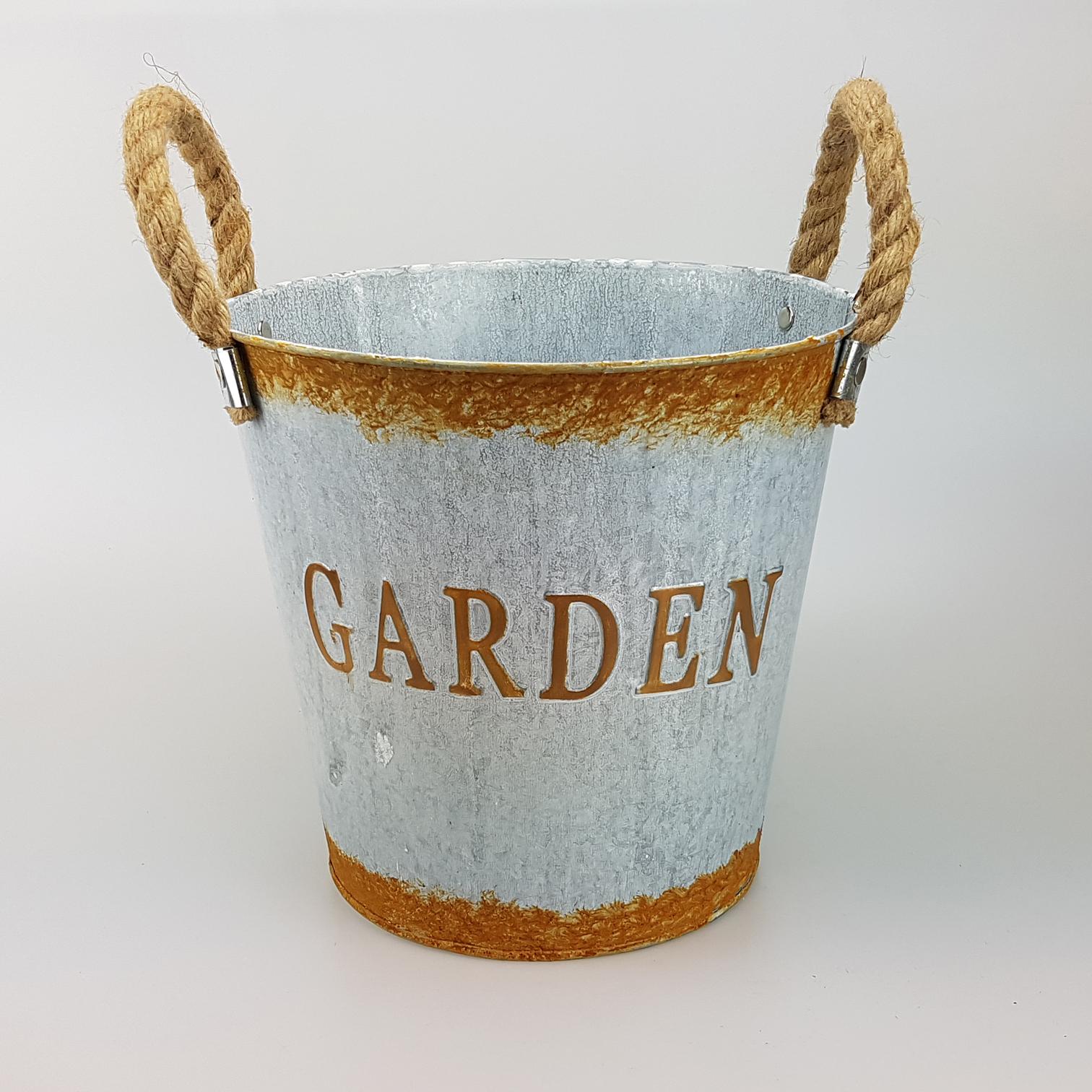 Bucket zinc white/rust 16x11xH14cm - Art-Vi-Zo